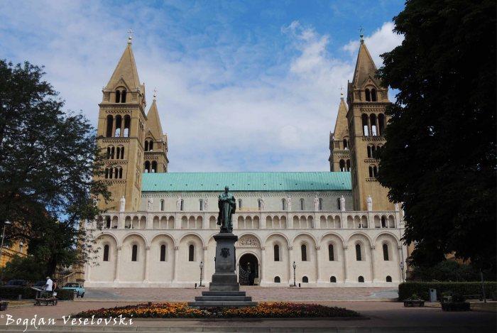 05. Ignác Szepesy statue & Cathedral of Ss. Peter & Paul (Pécsi Szent Péter és Szent Pál Székesegyház)