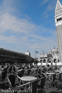 28. St. Mark's Square seen from Caffè Florian - Procuratie Vecchie, St. Mark's Basilica & Campanile
