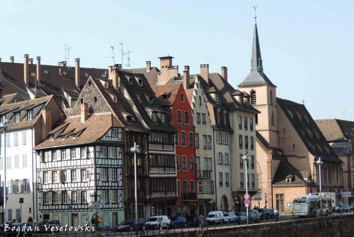 06. Buildings on the bank of the river Ill & Saint Nicholas Church (Église Saint Nicolas)