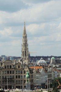 44. The spire of the Brussels City Hall seen from the Mont des Arts