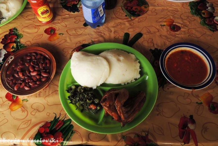 Chicken, Nsima, Beans & Masamba