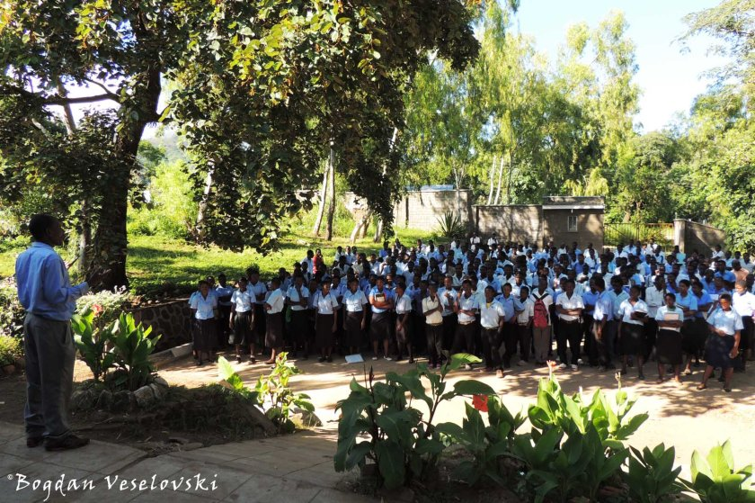 School assembly before examinations