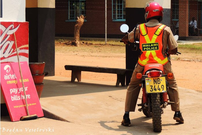 Traffic policeman on motorbike in Nsanje