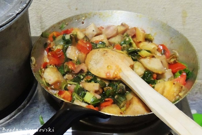 Sweet potatoes with okra, green onion & tomatoes