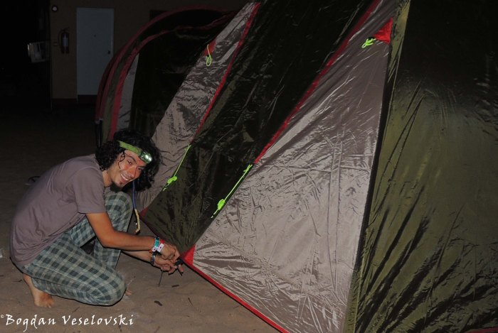 Pitching the tent