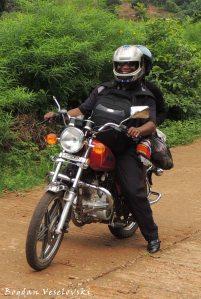 January on a motorbike