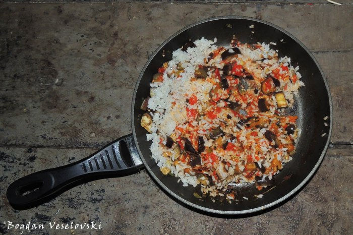 Rice with eggplants & tomatoes