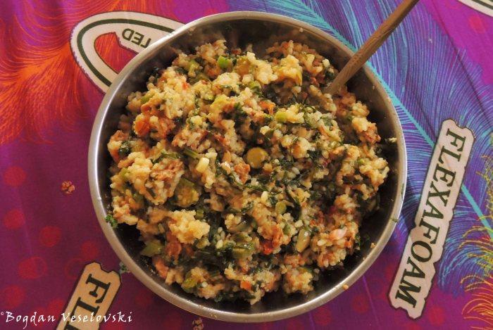 Rise with soya, okra, tomatoes & masamba