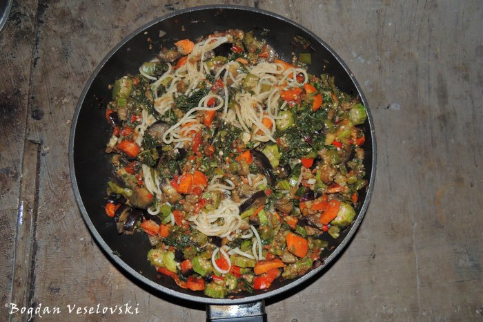 Vegetable Pasta (eggplants, carrots, okra, tomatoes, onion, masamba)