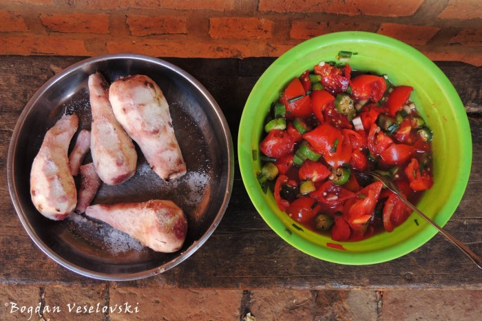 Yam with tomato & okra salad