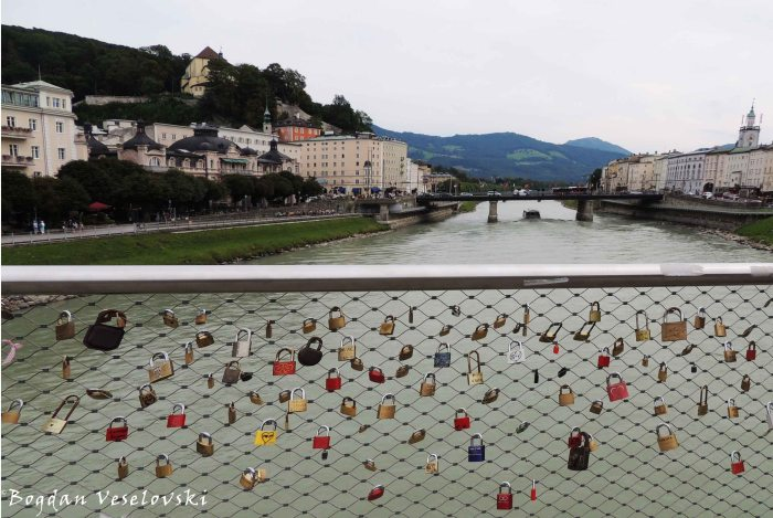Love padlocks bridge over Salzach