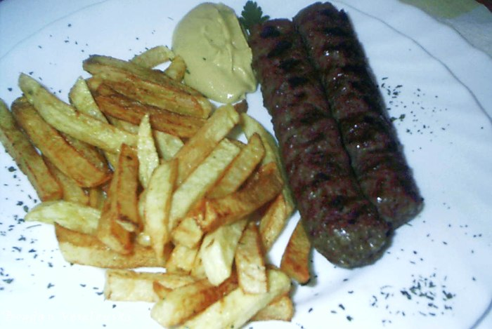 Mici with chips