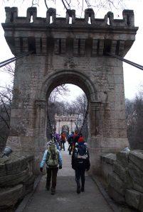 Suspended bridge in Romanescu Park, Craiova