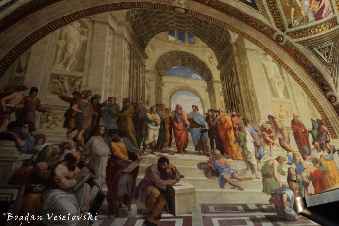 'The School of Athens' by Raphael, Raphael Rooms in Vatican Museum.
