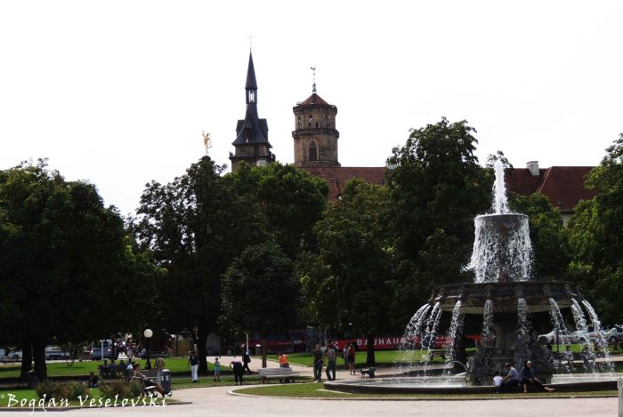 Fountain in Schlossplatz & Stiftskirche in the background