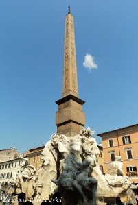 Fountain of the four Rivers with Egyptian obelisk, in the middle of Piazza Navona (Fontana dei Quattro Fiumi)