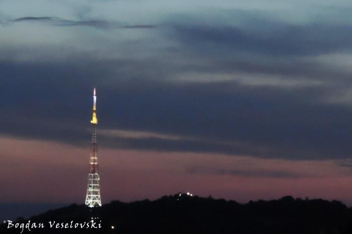Lviv TV tower by night