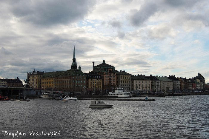 View with the harbour of Skeppsbron, the eastern waterfront of Gamla stan, Stockholm