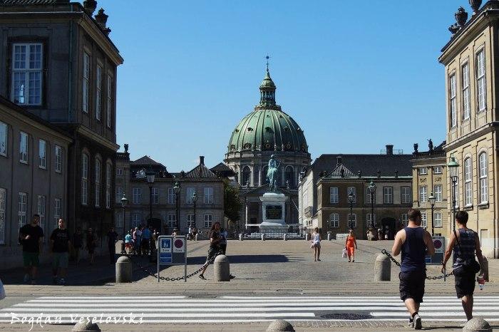 Amalienborg Square, Copenhagen - Frederik V on Horseback & Frederik's Church