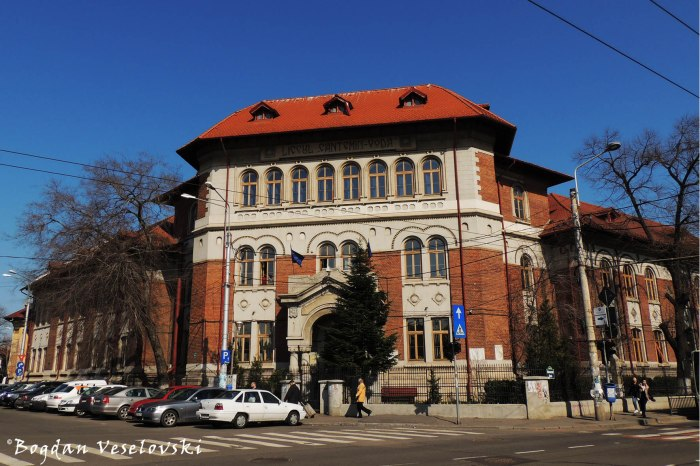 117, Dacia Blvd. - Cantemir Vodă National College, Bucharest (1926, arch. Virgina Haret & N. Stănescu, Neo-Romanian style)