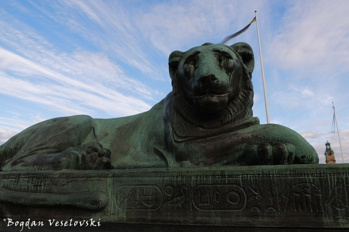 Egyptian lion on Norrbro Bridge , Stockholm