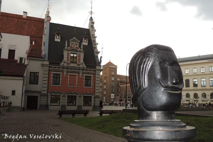 Black head near the House of the Blackheads, Riga