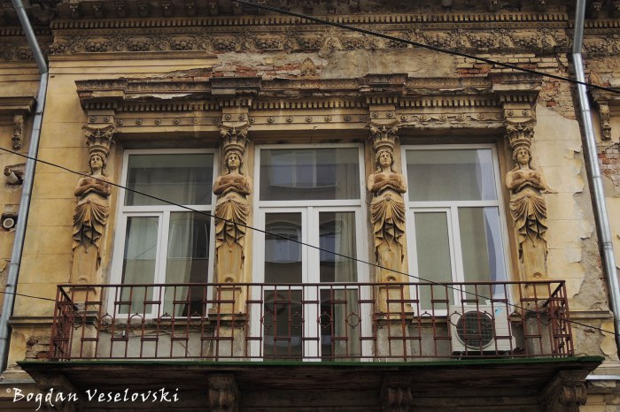Caryatids balcony on Biserica Amzei Street (1890, Neo-Classical style)