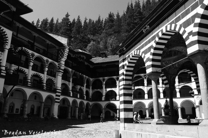 Rila Monastery - Courtyard and the arked outer corridors