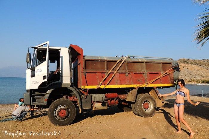 Dump truck on the beach