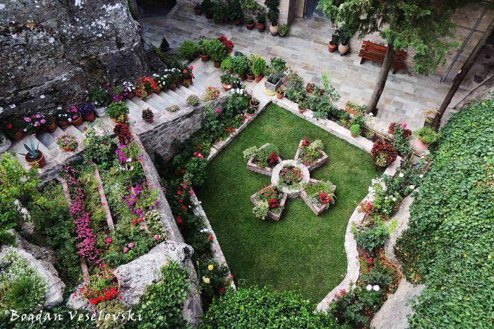 Courtyard of The Holy Monastery of Roussanou - Saint Barbara, Meteora