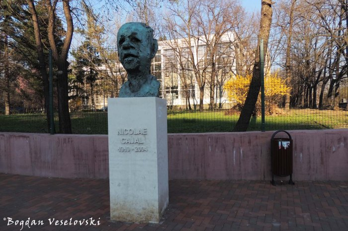 Monument to Nicolae Cajal by sculpt. Dragoș Cătălin Munteanu, in front of the Institute of Virology, Bucharest