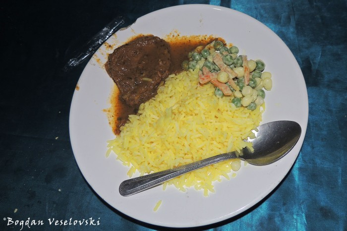 Beef with rice & salad