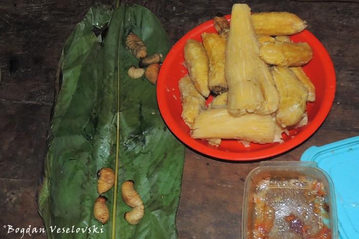Mayones, yuca, oros (larvae, cassava, baby bananas)