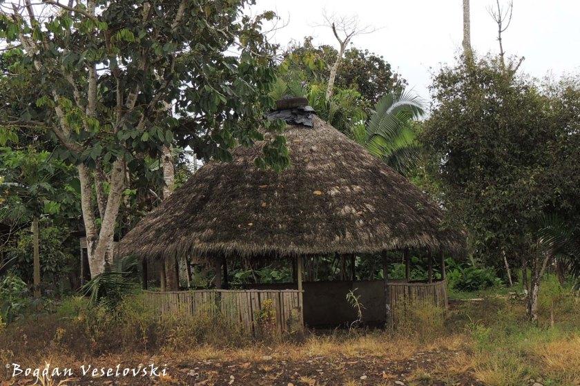 Straw-roofed gazebo