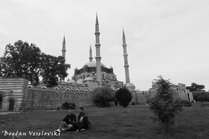 Selimiye Mosque in black and white
