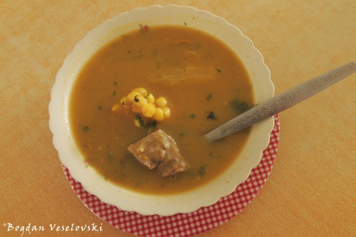Beef soup with corn