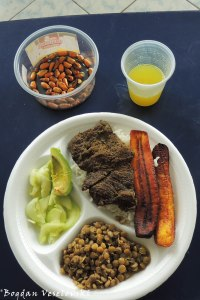 Beef with rice, lentils, fried bananas, avocado, melon & juice