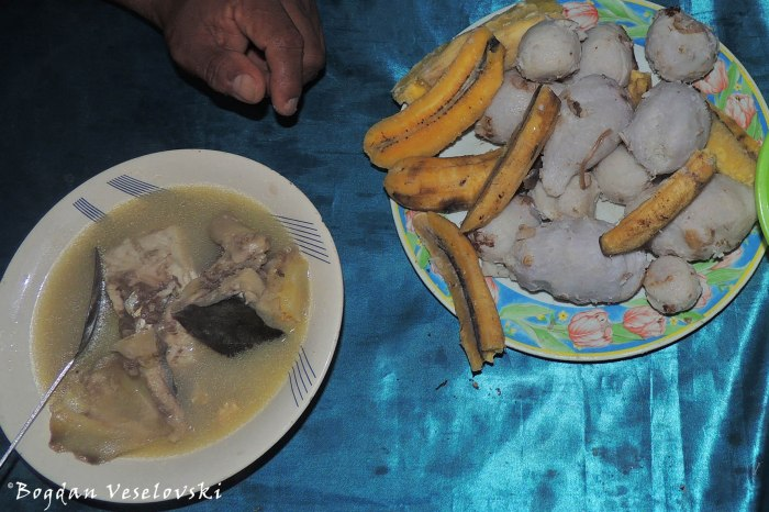 Fish soup, taro, plantains