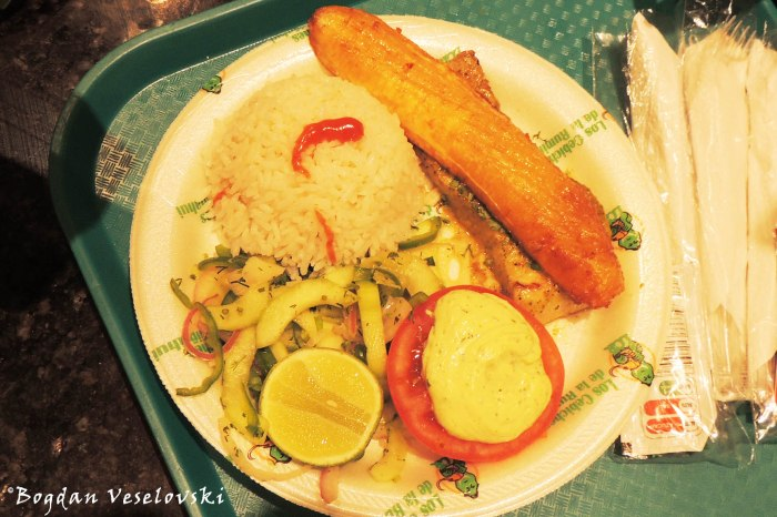 Fish with rice, chips & fried banana