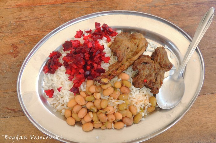 Pork, rice, beetroot & vetches