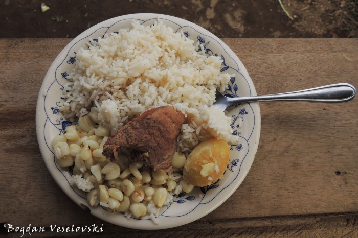 Pork with mote, rice & potato