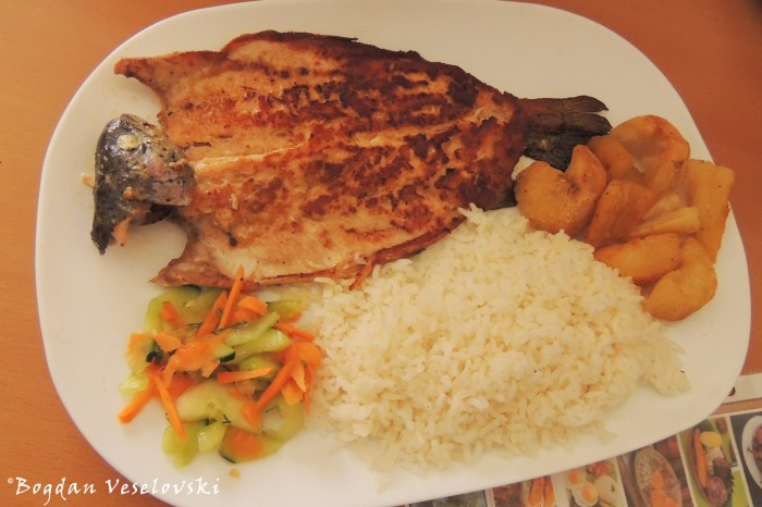 Trout, rice, cassava, salad